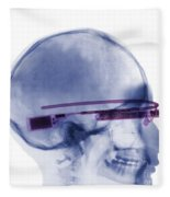 Woman Wearing Google Glass X-ray Fleece Blanket