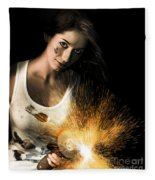 Woman With Angle Grinder Spraying Sparks Fleece Blanket