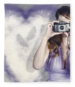 Woman With Camera. Love In A Still Frame Capture Fleece Blanket
