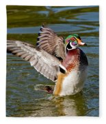 Wood Duck Drake Flapping Wings Fleece Blanket