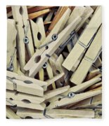 Wooden Clothes Pegs Fleece Blanket