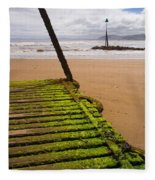 Wooden Slipway Rhos On Sea Fleece Blanket