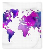 World Map Watercolor Fleece Blanket