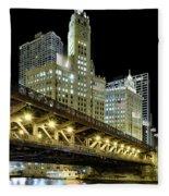Wrigley Building At Night Fleece Blanket