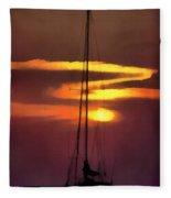Yacht At Sunset Fleece Blanket