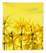 Yellow Forsythia Flowers Fleece Blanket