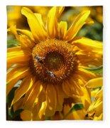 Yellow Sunflower Fleece Blanket