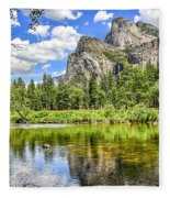 Yosemite Merced River Rafting Fleece Blanket
