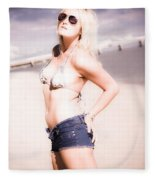 Young Attractive Travel Woman At Beach Fleece Blanket