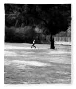 Young Boys Playing Cricket In A Park Near Delhi Zoo Fleece Blanket