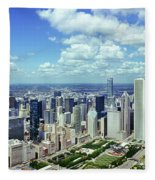 Aerial View Of A City, Chicago, Cook Fleece Blanket