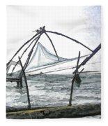 Fishing Nets On The Sea Coast In Alleppey Fleece Blanket