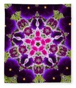 Flower Kaleidoscope Resembling A Mandala Fleece Blanket