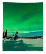 Intense Display Of Northern Lights Aurora Borealis Fleece Blanket