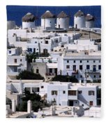 Mykonos Town Fleece Blanket