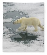 Polar Bear Crossing Ice Floe Fleece Blanket