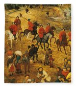 Ascent To Calvary, By Pieter Bruegel Fleece Blanket