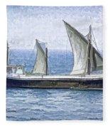 Fishing Vessel In The Arabian Sea Fleece Blanket