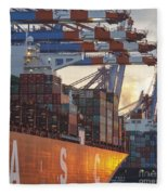 Hamburg Harbor Container Terminal Fleece Blanket