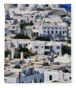 Mykonos Town Fleece Blanket