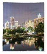 Skyline Of Uptown Charlotte North Carolina At Night Fleece Blanket