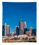 Charlotte City Skyline Autumn Season Fleece Blanket