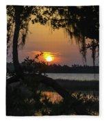 Lowcountry Spanish Moss Sunset Fleece Blanket
