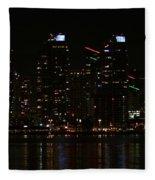 San Diego Skyline Night Fleece Blanket
