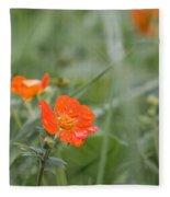 Scarlet Avens Orange Wild Flower Fleece Blanket