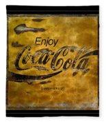 Coca Cola Sign Grungy Retro Style Fleece Blanket