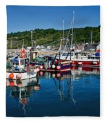 Lyme Regis Harbour Fleece Blanket