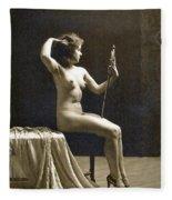 Vintage Nude Postcard Image Fleece Blanket