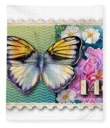 14 Cent Butterfly Stamp Fleece Blanket