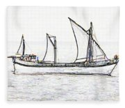 Fishing Vessel In The Arabian Sea Fleece Blanket