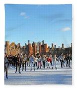 Ice Skating At Hampton Court Palace Ice Rink England Uk Fleece Blanket