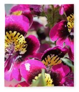 Schizanthus From The Hit Parade Mix Fleece Blanket