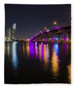 Miami Downtown Skyline Fleece Blanket