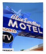 Route 66 - Blue Swallow Motel Fleece Blanket