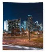Skyline Of Uptown Charlotte North Carolina At Night. Fleece Blanket