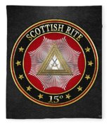 15th Degree - Knight Of The East Jewel On Black Leather Fleece Blanket