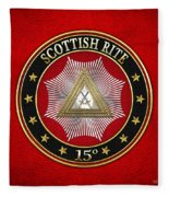 15th Degree - Knight Of The East Jewel On Red Leather Fleece Blanket