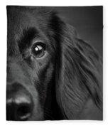 Portrait Of A Mixed Dog Fleece Blanket