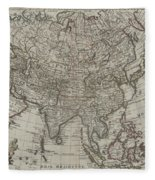 1745 Asia Map Fleece Blanket