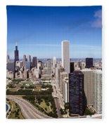 Aerial View Of Buildings In A City Fleece Blanket