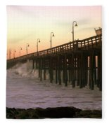 Ocean Wave Storm Pier Fleece Blanket