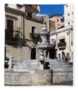 Another View Of An Old Unused Fountain In Taormina Sicily Fleece Blanket