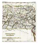 1835 Pennsylvania And New Jersey Map Fleece Blanket
