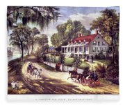 1870s 1800s A Home On The Mississippi - Fleece Blanket