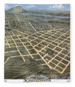1871 Birds Eye Map Of Chattanooga Fleece Blanket