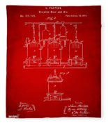 1873 Brewing Beer And Ale Patent Artwork - Red Fleece Blanket